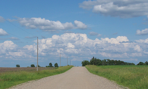 A rural dirt road with power lines